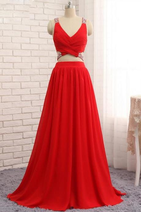 Sexy Two Pieces Chiffon Beads Red Dresses,V Neck A Line Sleeveless Long Prom Gowns
