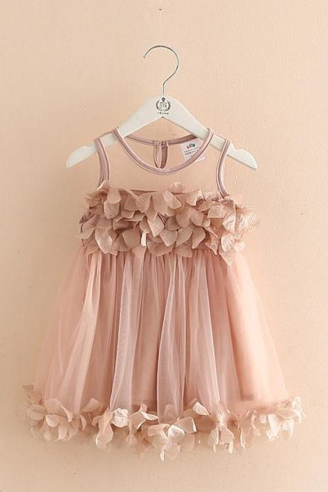 In Stock Dusty Pink Tulle Cotton Flower Girl Dresses,Handmade Flowers,Cute Girl Clothing,Children Clothes,Summer Dresses