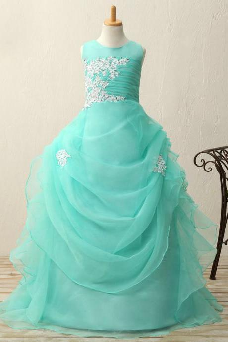 Gauze appliques beads ball gown flower girl dresses
