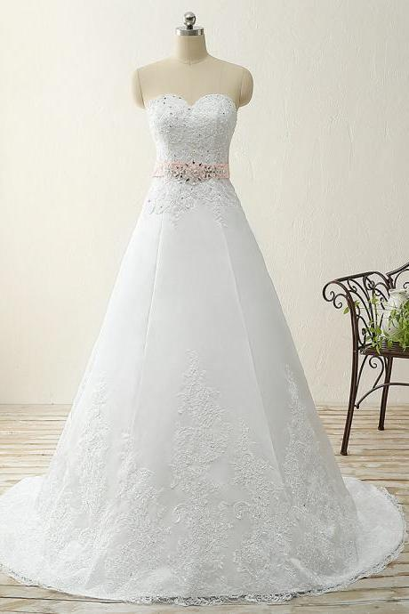 Satin appliques crystal beads pink waist sweetheart A line sweep train white wedding dress