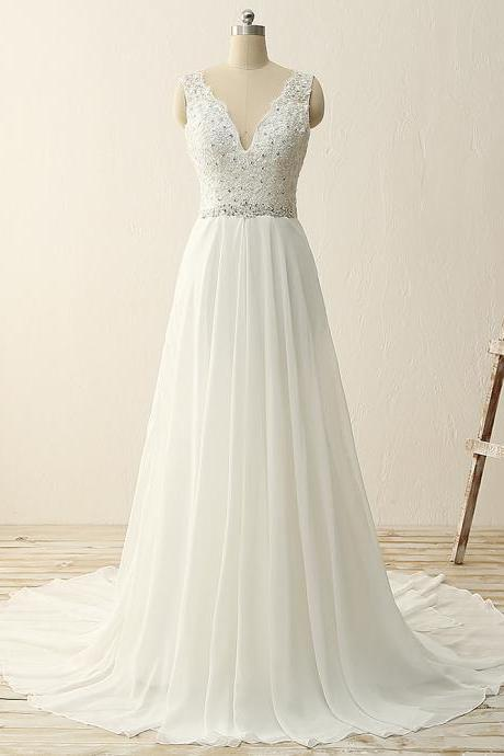Double V neck lace chiffon beading waist see through back bridal dress for beach wedding