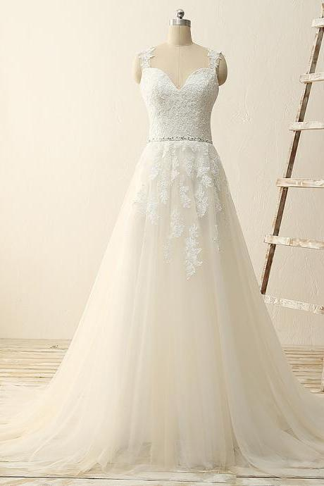 Sleeveless Lace Appliqué Sweep Train Wedding Dress with Plunging Sweetheart Neckline