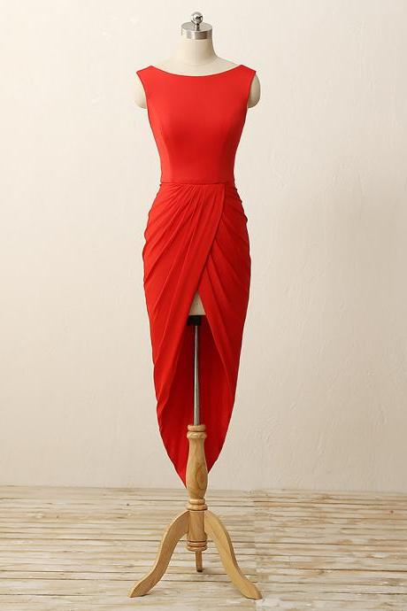 High-Low round neck red close-fitting pleated skirt deep V back zipper casual dress