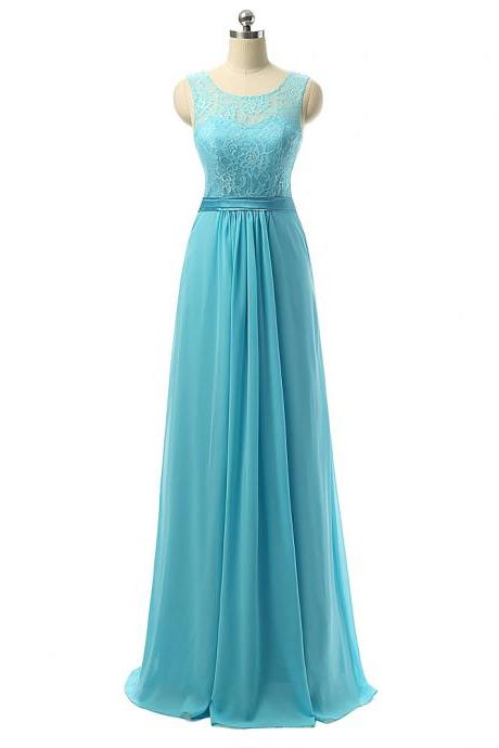 Chiffon lace round neck floor length laced up back long bridesmaid dresses