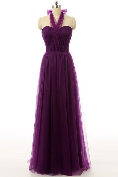 Tulle Criss-Cross Halter Neck with Bow Lace up Back Chiffon Bridesmaid Dresses