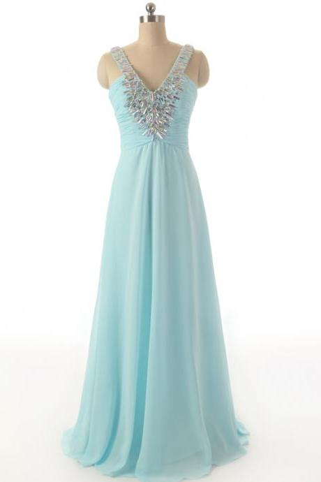 V Neck Trimmed with Rhinestones Ruching Bodice Chiffon Evening Dresses