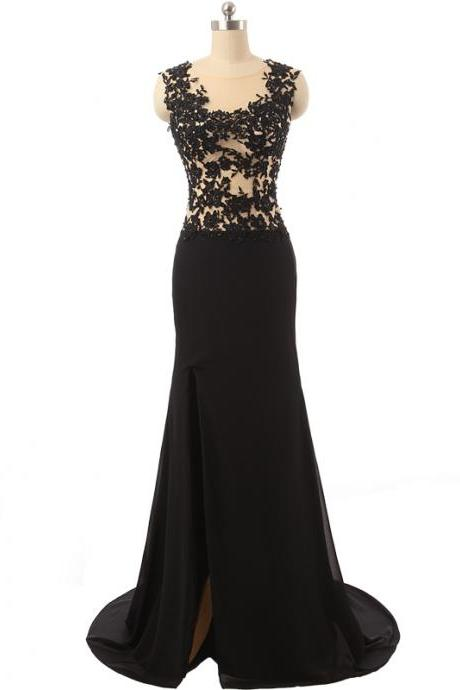 Sexy Appliques See Through Bodice Side Split Black Skirt Mermaid Formal Dresses
