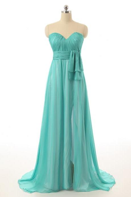 A Line Ruched Sweetheart Bodice Side Split Waterfall Chiffon Skirt Flowing Bridesmaid Dresses