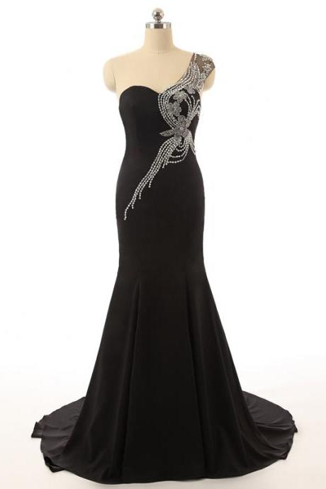 Sweetheart Neck One Shoulder with Beading Crystal Black Mermaid Long Party Dresses