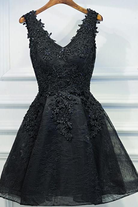 Sexy V Neck Beading Lace Appliques Black Cocktail Dresses,Short Prom Gowns
